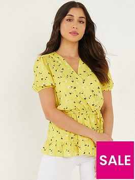 quiz-frill-hem-wrap-top-yellow