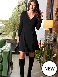 pour-moi-bella-slinky-recycled-jersey-long-sleeve-tea-dress-black