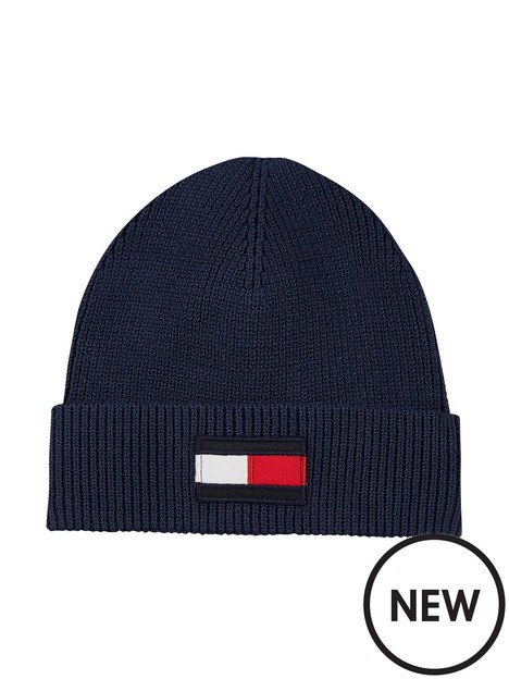 tommy-hilfiger-boys-large-flag-knitted-beanie-navy