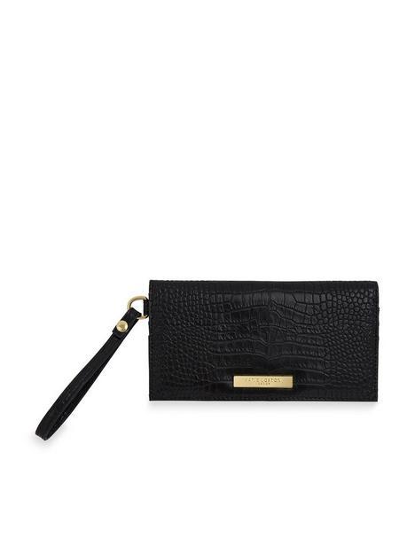 katie-loxton-celine-faux-croc-wristlet-purse-black