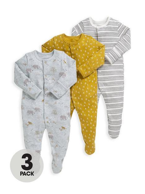 mamas-papas-baby-boys-3-pack-safari-sleepsuits-multi