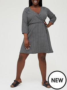 v-by-very-curve-jersey-wrap-34-sleeve-gingham-mini-dress-blackwhitenbsp