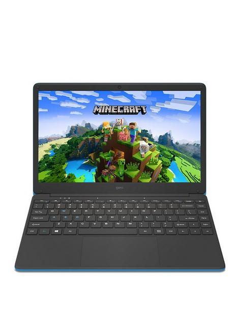 geo-geobook-140-minecraft-intel-celeron-4gb-ram-64gb-storage-14in-hd-laptop-with-microsoft-365-personal-included-and-optional-norton-360-blue