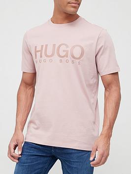 hugo-doliver-large-logo-t-shirt-pink