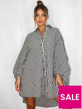 missguided-plus-missguided-plus-puff-sleevenbspoversized-gingham-shirt-dress-black