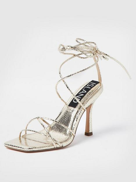 river-island-square-toe-tie-up-sandal-gold