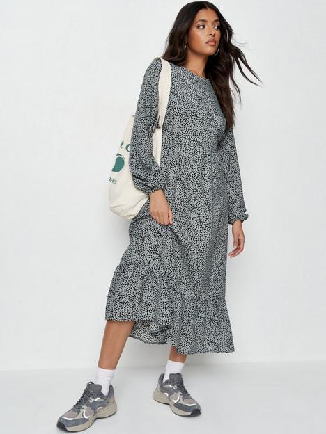missguided-missguidednbspruffle-hem-midi-smock-dress-long-sleeve--nbspdalmatian-print