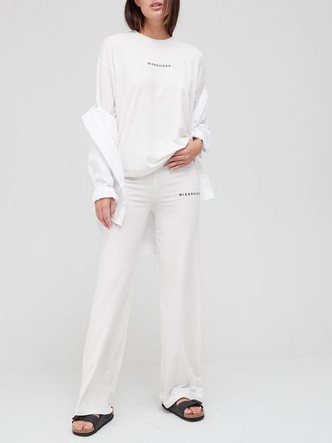 missguided-missguided-brandednbspcoord-wide-leg-set-white