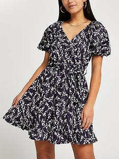 ri-petite-belted-wrap-floral-mini-dress-navy