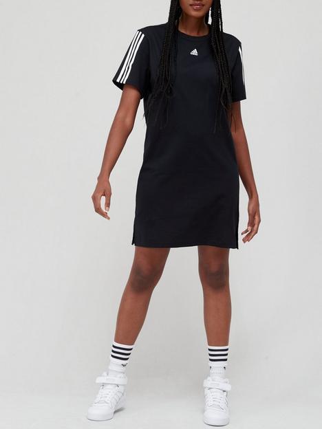 adidas-essentials-3-stripes-dress-blackwhite