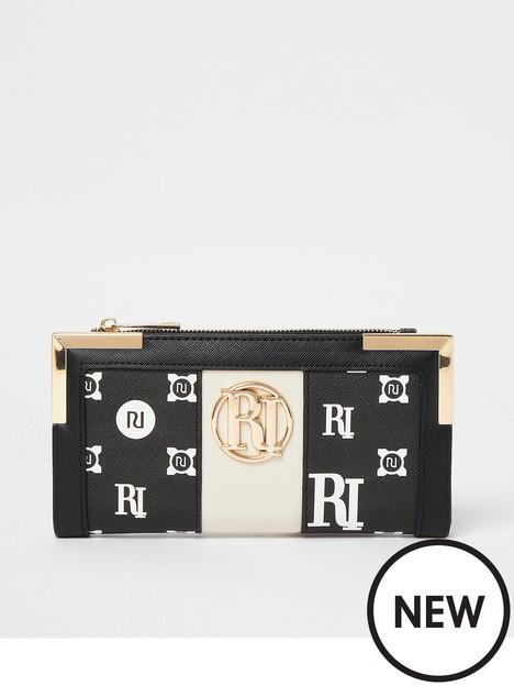 river-island-logo-monogram-metal-corner-purse-black