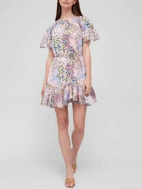 ted-baker-urban-printed-fluted-hem-mini-dress-pink