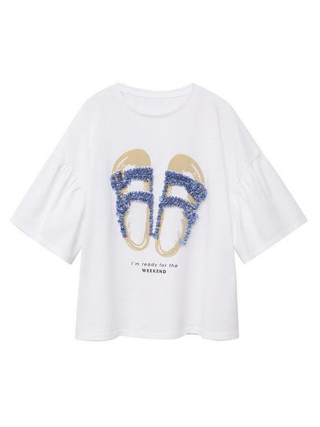 mango-girl-sandal-flute-t-shirt-white