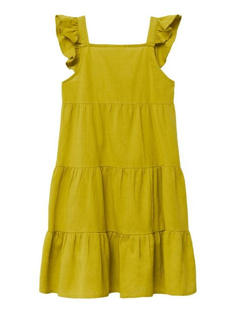mango-girl-tiered-frill-dress-bright-yellow