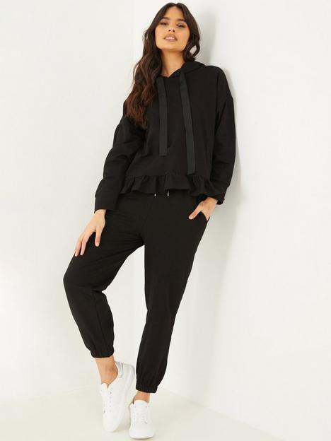 quiz-frill-hem-hoodie-jogger-set-black