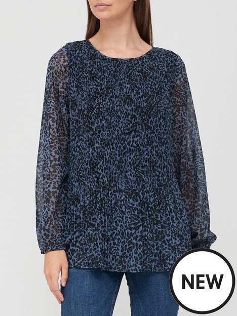 v-by-very-pleated-longline-shell-topnbsp--blue-animal-print