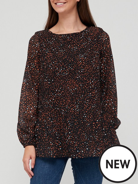 v-by-very-pleated-longline-shell-top-animal-print