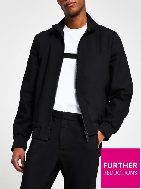 river-island-nylon-funnel-neck-slim-fit-jacket-black