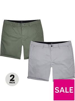 river-island-2-pack-chino-shorts-khakigrey