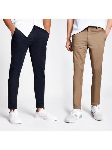 river-island-2-pack-chino-trousers-navytan