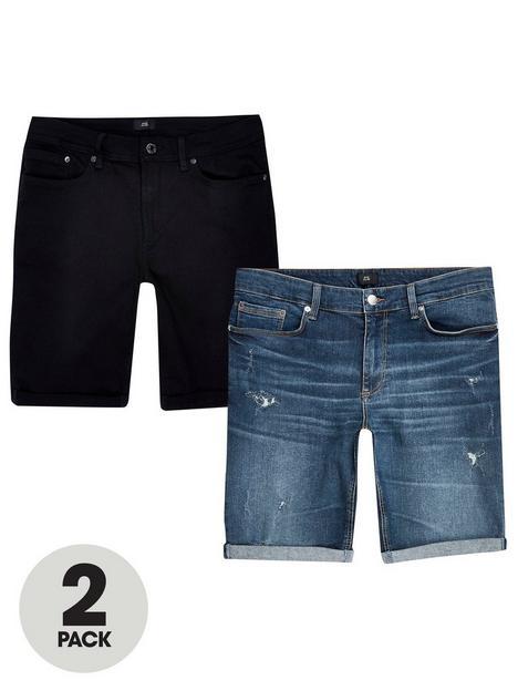 river-island-skinny-denim-shorts-2-pack-blackbluenbsp