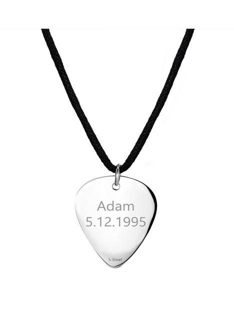 mens-personalised-steel-guitar-pick-pendant-necklace