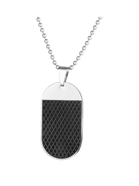 mens-black-steel-rounded-dog-tag-necklace