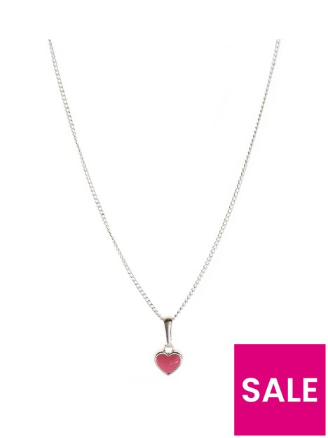 the-love-silver-collection-childrensnbspsterling-silver-enamel-heart-pendant-withnbspadjustable-chain