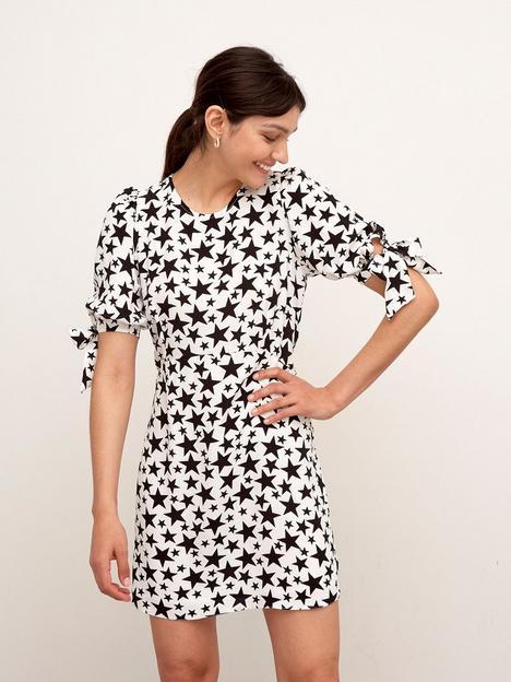 nobodys-child-esme-star-print-mini-dress-blackwhite