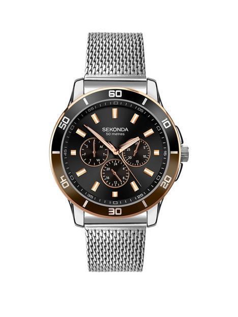 sekonda-sekonda-black-multi-dial-stainless-steel-mesh-bracelet-watch