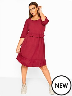 yours-yours-limitednbspfrill-smock-dress-wine