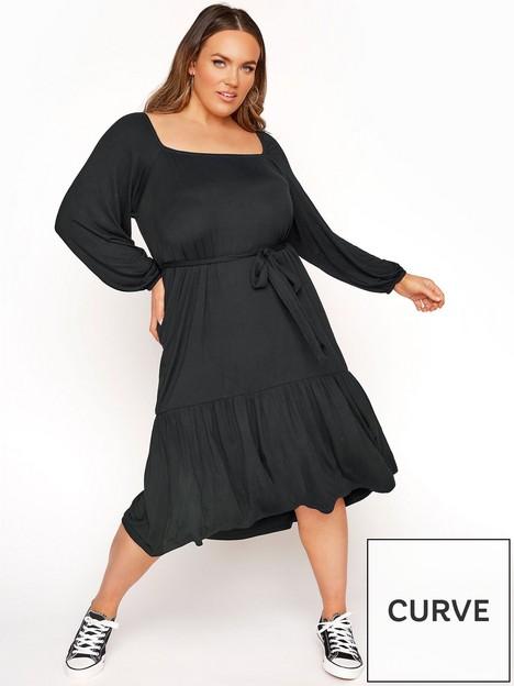 yours-yours-limitednbspsquare-neck-tie-waist-tiered-dress-black