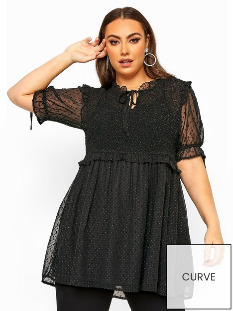 yours-yours-limitednbspsparkle-shirred-peplum-top-black