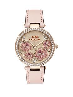 coach-park-floral-dial-pink-strap-watch