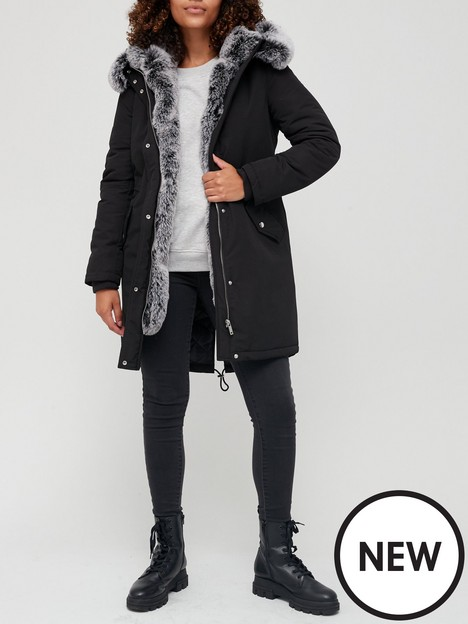 v-by-very-faux-fur-lined-premium-parka-black