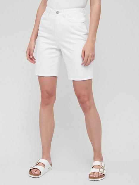 v-by-very-high-waist-longline-denim-short-white