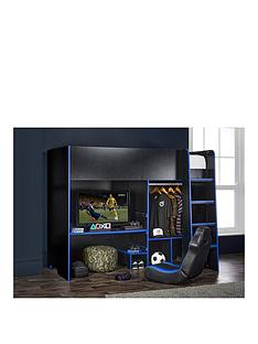 lloyd-pascal-black-gaming-bed-highsleeper-with-adjustable-desk-top-open-wardrobe-with-blue-edging