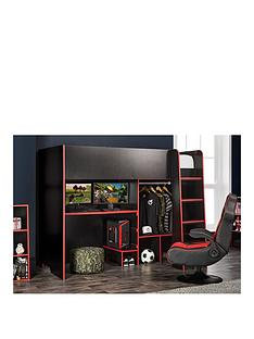 lloyd-pascal-black-gaming-bed-highsleeper-with-adjustable-desk-top-open-wardrobe-with-red-edging