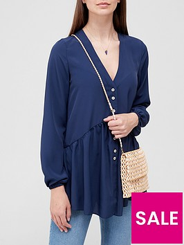 v-by-very-longline-button-detail-tunic-navy