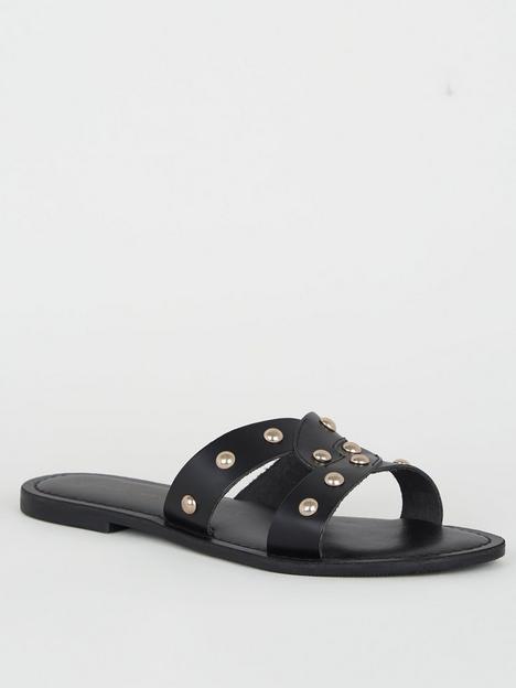 new-look-flat-studded-sandal-black