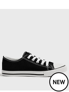 new-look-canvas-stripe-sole-trainer-black
