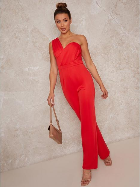 chi-chi-london-sleeveless-one-shoulder-pleated-jumpsuit-red