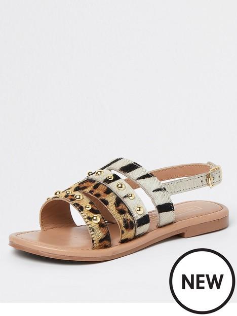 river-island-girls-leaoprd-sandal-brown