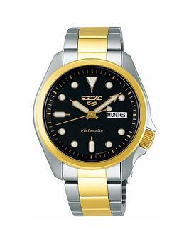 seiko-seiko-sport-black-date-dial-stainless-steel-gold-tone-bracelet-watch