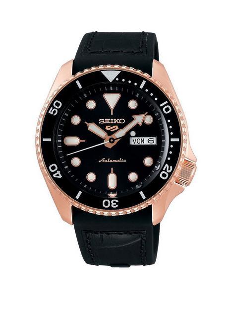 seiko-seiko-sport-black-date-dial-rose-tone-bezel-black-silicone-strap-watch