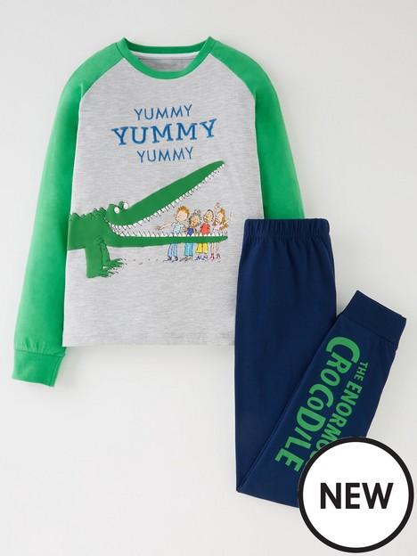 roald-dahl-the-enormous-crocodile-raglan-pyjamasnbsp--greygreen