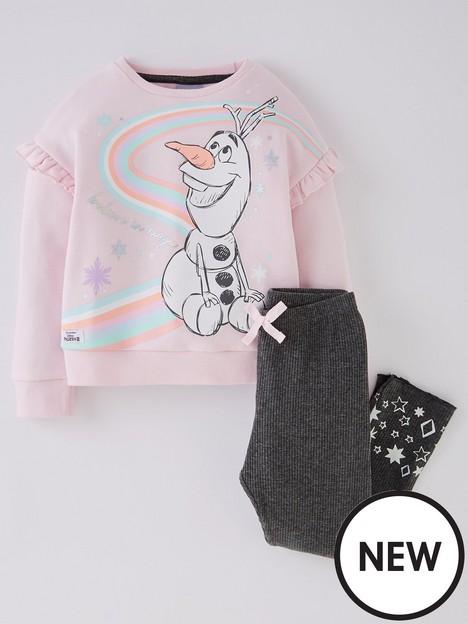 disney-frozen-girls-frozen-2-piece-olaf-sweat-and-rib-legging-set-pink