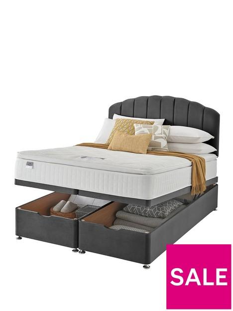 silentnight-ava-eco-1000-pillowtop-velvet-ottoman-storage-bed-headboard-included