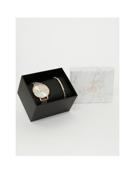 lipsy-grey-watch-bracelet-gift-set