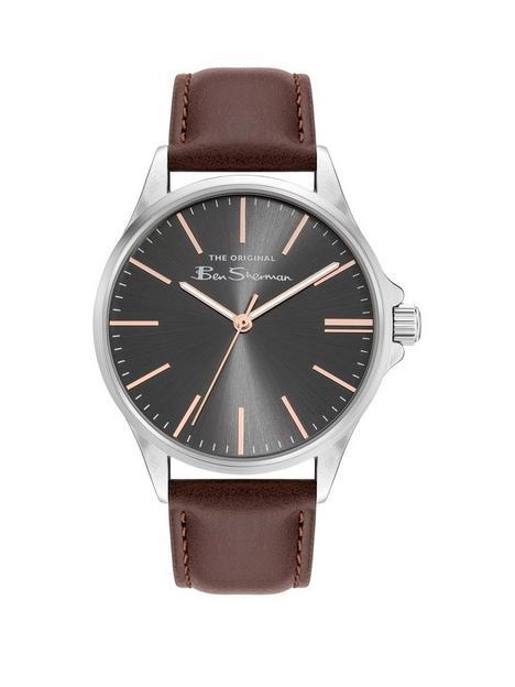 ben-sherman-grey-dial-brown-strap-watch